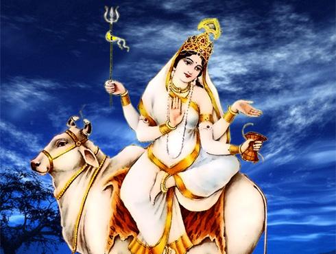 photo of hindu goddss mahagauri mata eighth form of durga devi