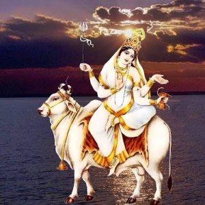 picture of photo of hindu goddss mahagauri mata eighth form of durga devi